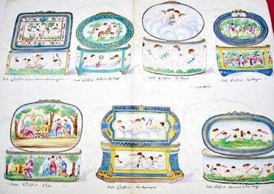 7 Coffrets à décor d'amours : Vendangeurs, Enfant à la Chèvre, Danseurs, Anges musiciens, Amour à la Cage