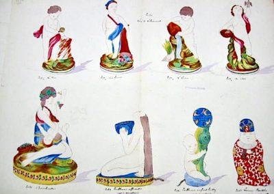 """Les """"4 éléments"""", 1 Bacchante, 1 veilleuse """"offrandes"""",""""Enfant au Triton"""", 1 encrier """"Boudha""""  en Chantilly"""