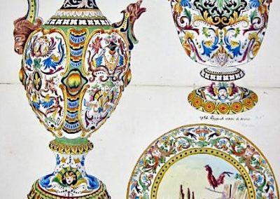 """PA Aiguière, vase 2 anses, Assiette L'aurore, décor """"italien"""""""