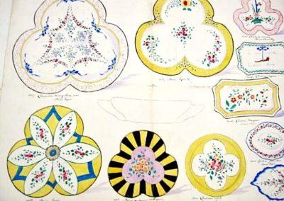 4 compotiers décor Sèvres, décor moderne d'aubépines, 6 cendriers à décor de Sèvres et de Chantilly
