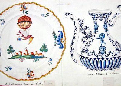 """PA  Moustiers """"Ballon"""" & Théière Bérain"""