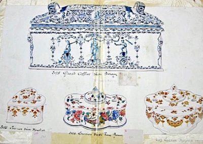 PA Coffret Bérain, sucrier & encrier Moustiers, encrier Vieux Rouen