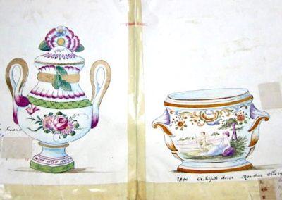 """PA Brûle-Parfum decor Sceaux, Cache Pot décor Moustiers """"Ollery"""""""