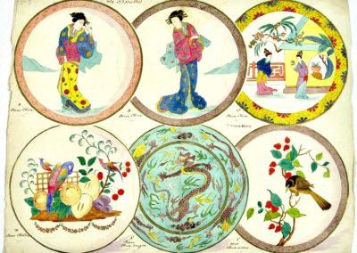 """5 Assiettes décor """"Chine"""", 1 décor Chelsea,"""