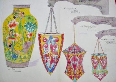 """3 Lanternes de couloir décor Moyen Âge, 1 vase """"Chinois"""""""